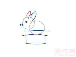 帽子變魔術兔子簡筆畫第5步