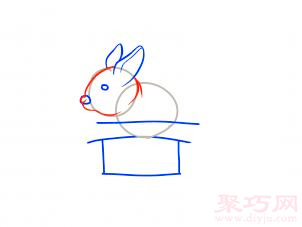 帽子變魔術兔子簡筆畫第6步