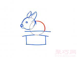 帽子變魔術兔子簡筆畫第7步