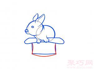 帽子變魔術兔子簡筆畫第10步