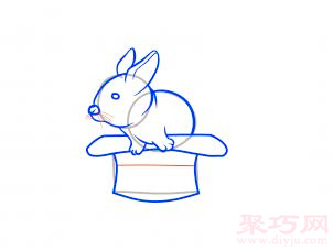帽子變魔術兔子簡筆畫第11步