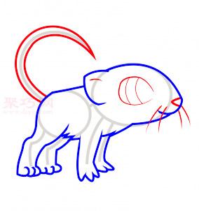 老鼠簡筆畫第4步
