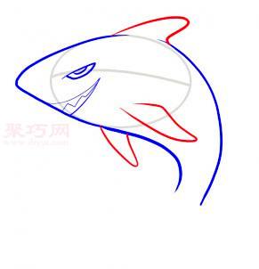鯊魚簡筆畫第4步