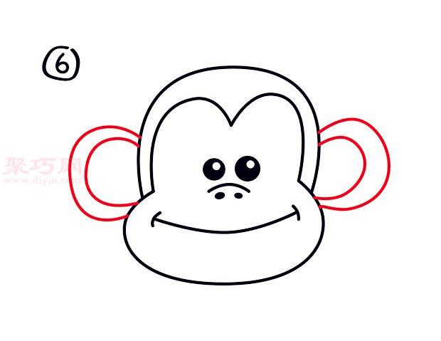 大嘴猴頭像簡筆畫第6步