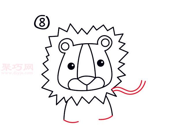 儿童简笔画狮子头的画法