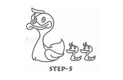 简易画游泳的鸭子的步骤 画游泳的鸭子的简笔画图片