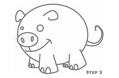 儿童简笔画小猪的画法 教你如何画小猪简笔画