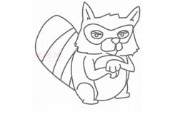 兒童簡筆畫浣熊先生的畫法 教你如何畫浣熊先生簡筆畫
