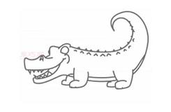 儿童简笔画鳄鱼的画法 教你怎么画鳄鱼简笔画
