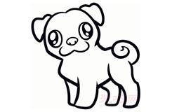 简易画哈巴狗的步骤 画哈巴狗的简笔画图片