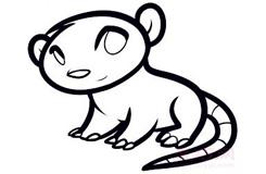 儿童简笔画负鼠的画法 教你怎么画负鼠简笔画