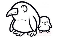 企鵝媽媽和寶寶的畫法 教你如何畫企鵝媽媽和寶寶簡筆畫