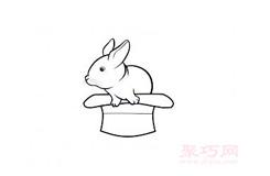 画帽子变魔术兔子的简笔画图片