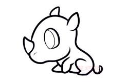 簡易畫小犀牛的步驟 畫小犀牛的簡筆畫圖片