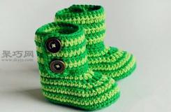長筒寶寶鉤織鞋教程 教你怎么織寶寶毛線鞋