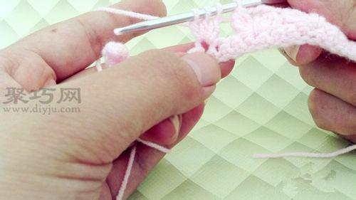 简单钩针编织针法:枣形针的钩法图解