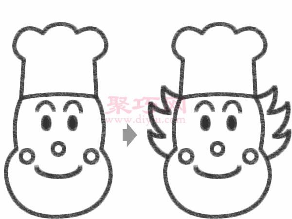 学会怎么画卡通厨师简笔画了吗?画好后参考第一张图片用笔给卡通