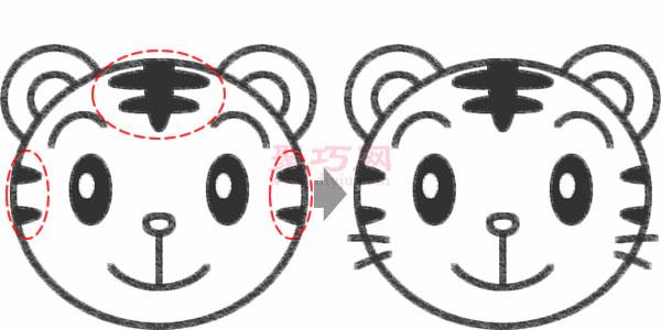 卡通老虎头的画法步骤