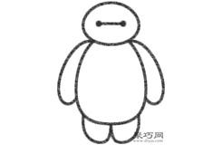 超能陆战队Baymax大白的画法步骤 怎么画大白简笔画
