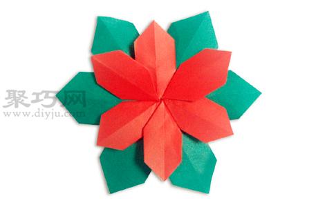 圣誕花的折法圖解教程 教你怎么折紙圣誕花