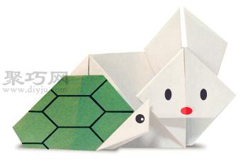 龟兔赛跑折纸教程图解 来学如何折纸龟兔赛跑