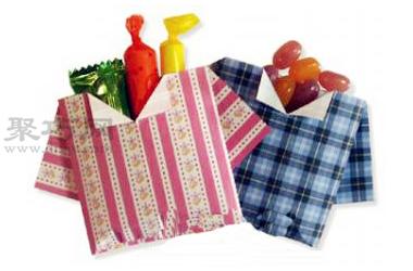 手工折纸衬衫糖果盒教程 衬衫糖果盒的折法图解