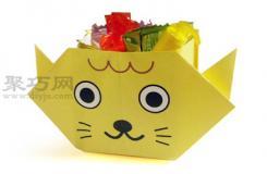小貓糖果盒折紙教程圖解 來學如何折紙小貓糖果盒