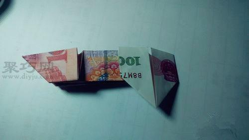 100元人民币折叠双心 用100元钱折双心图解教程