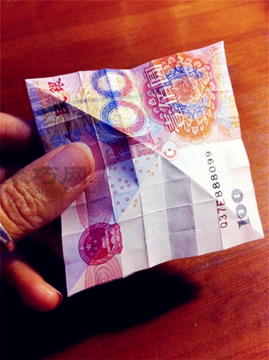 人民幣折玫瑰花圖解教程