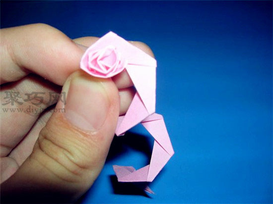 星星纸折玫瑰花图解