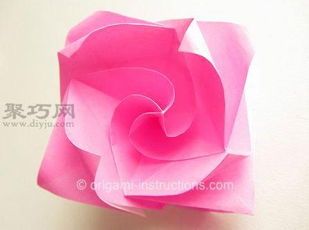 超级简单的纸玫瑰花折叠教程 川崎玫瑰折法改良版图片