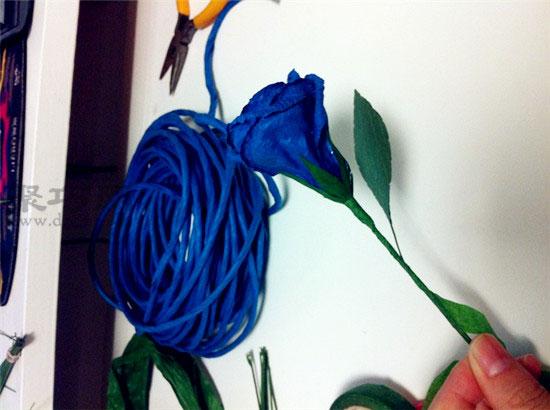 蓝色玫瑰花的折法图解