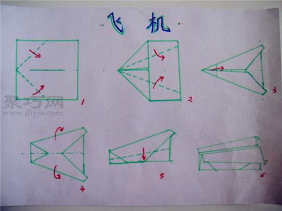 幼儿园小班折纸教案 折纸飞机 儿童折纸飞机的折法图片