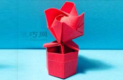 手工DIY折紙帶底座玫瑰花圖解教程 超詳細步驟