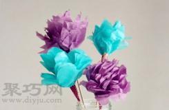 简单的纸花的折法 绢纸如何手工DIY纸花