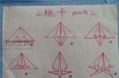 幼兒園大班折紙教案:折紙桃子 桃子的折法