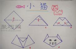 幼兒園小班折紙教案:兒童折紙小貓 小貓的折法