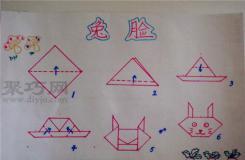 幼儿园中班折纸教案:折纸兔子脸 兔脸的折法