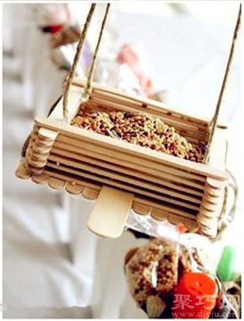 冰糕棍手工制作花盆吊篮方法教你DIY迷你吊篮