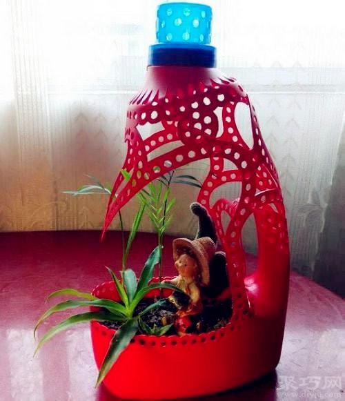 洗衣液瓶子diy漂亮花盆做法视频步骤图解