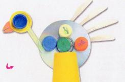 光盤廢物利用手工制作大公雞 幼兒園手工大全