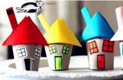 衛生紙筒幼兒園手工制作卡通小房子