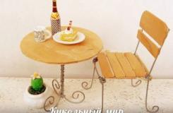 雪糕棍和�F�z手工制作�易咖啡桌椅�M合方法�D解