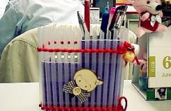 吸管变废为宝手工制作简易笔筒 自制吸管笔筒教程