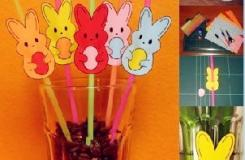 diy創意吸管可愛小兔子 幼兒園手工diy吸管