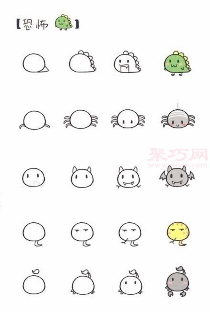 简笔画小动物教程:呆萌小恐龙