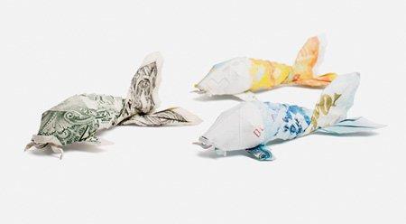 欧元和美元创意折纸作品:金鱼
