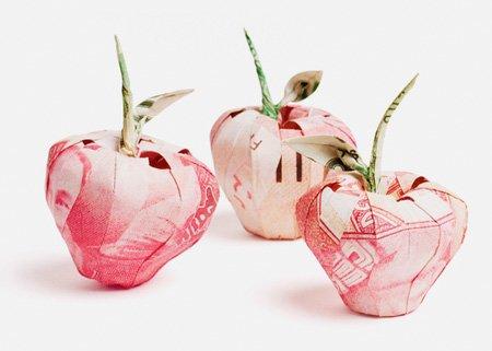 欧元和美元创意折纸作品:苹果