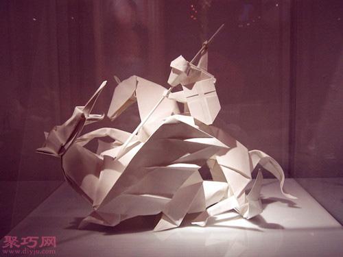 3d立体折纸十字骑士大战火龙