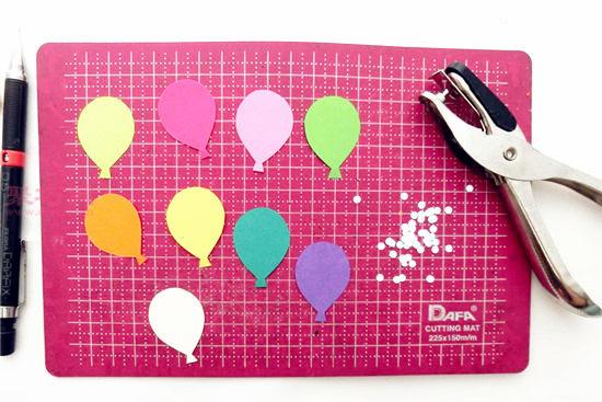 彩色卡紙手工制作氣球立體賀卡教程